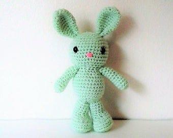 Standing Amigurumi Bunny - 10 inch Mint Green Crochet Bunny Doll (Ready to Ship)