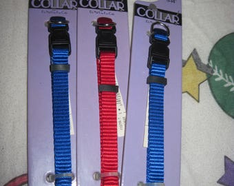 Lot of 3 Small Dog Nylon Collars...use as is or decorate