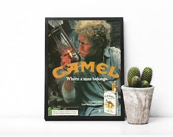Outdoors Lantern • Everyday Man Ad • Outdoor Camping • Rustic Man Image • Hunter Green Color • Camel Cigarettes • Camel Smoking Ephemera