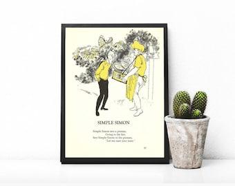 Simple Simon Met A Pieman • Simple Simon Nursery Rhyme • Cute Kids Rhyme • Fair Themed Print • County Fair Picture • Fair Carnival Yellow