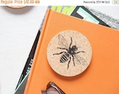 Cyber Monday Sale Cork Coasters - Set Of Four Eco-Friendly Bee Coasters