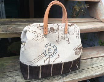 Linen Postage Print Knitting Tote, Mason Bag, Doctor Bag