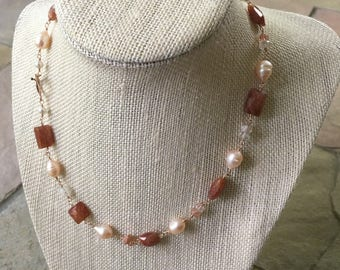 Sunstone Necklace Sun Lover's Necklace Sunstone Gemstone Necklace in Rose Gold Orange Necklace Pearl Necklace Gemstone Jewelry Wire Wrapped