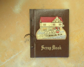 Vintage Brown Scrapbook, 1940s Red Cream Off White Horse and Carriage Inn Embossed Cover, Scrapbooking Supply Album, Blank Album Book