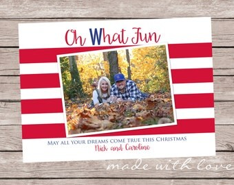 Chicago Cubs Christmas photo card, 5x7, personalized and printable