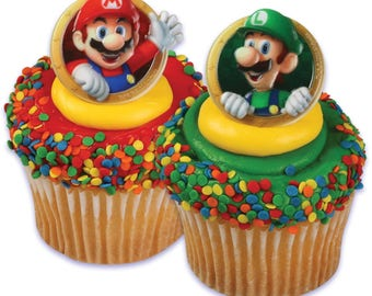 12 Super Mario Luigi Cupcake Cake Rings Birthday Party Favors Toppers