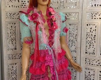 jacket handmade knitted crochet joy of spring ruffles cardiganOOAK  romantic dream  gift idea for her by golden yarn