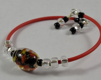 Abstract, Colorful Focal Beaded Bracelet