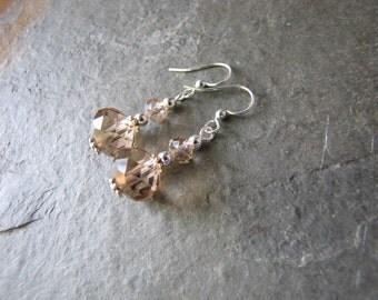Light Champagne earrings crystal glass teardrop silver simple bridesmaids wedding jewelry