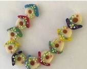 """CLEARANCE Bird House Beads Multicolored 10 Beads 3/4"""" x 1/2"""""""