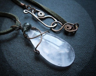 Rose Quartz and Moss Agate Pendant Necklace. Cosmic Hug. Sindri's Forge.
