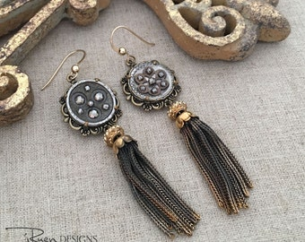 Vintage Assemblage Earrings - Cut Steel Button Earrings - Dangle Tassel Earrings - Unique One of a Kind OOAK Earrings - Gift For Her
