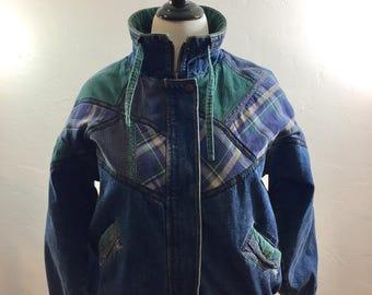 Vintage Jacket, Denim Jacket, Corduroy Jacket, Plaid Lining, 80s Jean Jacket, 80s Coat, Jean Coat, Denim Coat, Vintage Plaid, 1980s Coat
