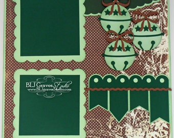 Premade Christmas Jingle Bells Scrapbook Page 12x12 Layout Paper Piecing Handmade 7