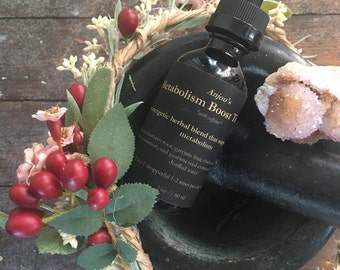 Metabolism Boost Tincture ~ Organic Herbal Blend that Supports Metabolism ~ Caffeine or Caffeine Free ~ Weight Support Remedy Energy Drink
