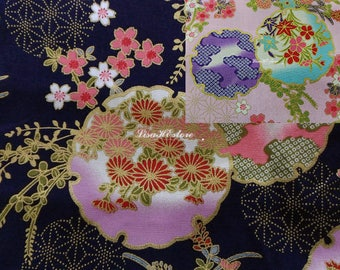 Cherry blossom and daisy, gold metallic, 1/2 yard, pure cotton fabric