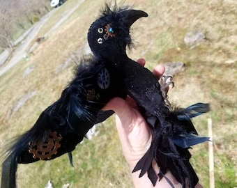 Steam punk crow  soft sculpture bird, OOAK