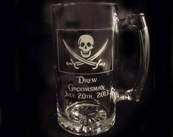Personalized Pirate Groomsman's Beer Mug, Custom Beer Mug, Etched Mug, Man Cave Gift, Wedding Party Mugs