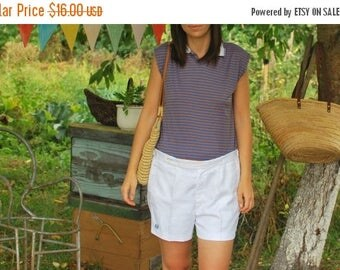 SALE Vintage 80's Striped Tshirt With Collars VINTAGE 80s womens top/sleeveless top