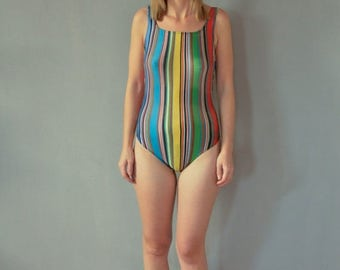 SALE Multicolor One Piece Swimsuit Vintage 90's striped one piece swimsuit