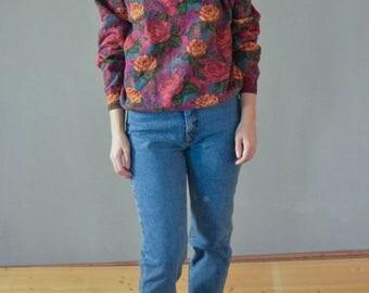 SALE Floral Cotton Sweatshirt Vintage 80's crewneck womens sweatshirt multicolor flower  paisley print