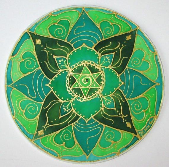 Green chakra mandala art, spiritual gift, Heart chakra mandala, chakra mandala,chakra art, mandala art, yoga art, meditation,reiki, energy a