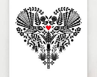 Piwakawaka, or New Zealand Fantail, in a black and white heart, print
