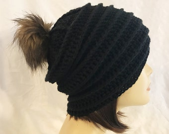 hat with faux fur pom pom,slouch,beanie,hat,hand crochet,made to fit teen and adults,black with faux fur pom pom