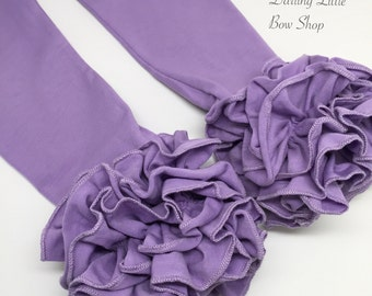 Light Purple Ruffle Leggings - Orchid Ruffle Leggings - adorable knit ruffle leggings -  size 6m to 8 with FREE SHIPPING