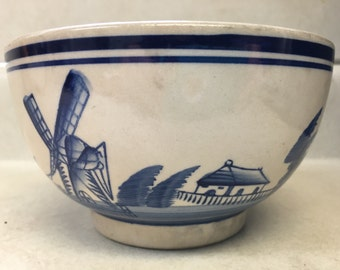 Vintage Dutch Bowl Tan Blue Windmills Holland Pottery AS IS