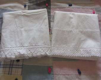 2 Vintage Pillowcases Pair White  Cotton Hand Crochet Lace Ends Not Matched Pillowcase