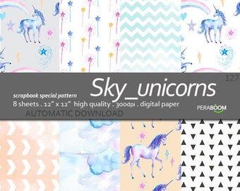 Unicorn Scrapbook Digital Paper, Unicorn Backgrounds, 12x12 inch, Textured backgrounds, Unicorn printable, Sky Unicorns 127, Pastel blue