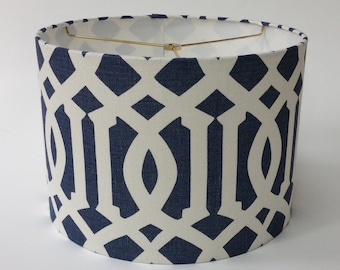 "14"" X 10"" Tall Drum Lampshade in Schumacher Imperial Trellis fabric in Navy - Ready to ship!"