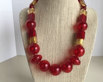 Luxury Red Venetian Glass Necklace