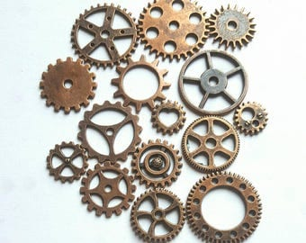 15pcs Antique Copper Mixed Steam Punk Cogs Charms - Copper gears - #12