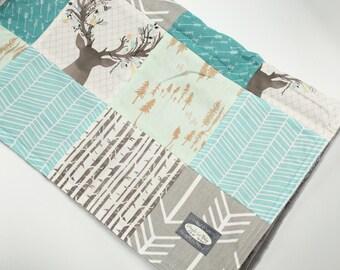 Patchwork Baby Blanket - Aqua, Mint and Teal Woodlands Blanket