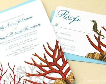 Beach Wedding, Tropical Wedding, Destination Wedding, Coral Reef wedding, Boho Wedding, Invitation, Invitations, Invite, Invitation Set