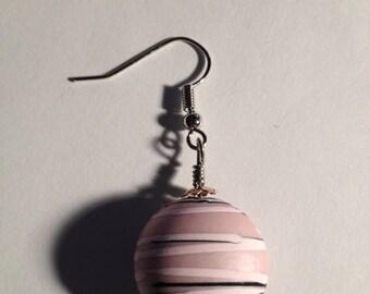 Stripes: Handmade Pink Acrylic Earrings