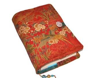 Handmade Book Cover, Bible Sleeve, Vintage Kimono Silk, Forest Birds, UK Seller, for Paperback Books or Hardback Books, Custom Sizes Made