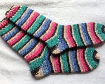 womens and men's wool socks Uk 5-7 US 7-9 coloured socks patterned socks hand knitted wool socks ladies socks unique knitted socks
