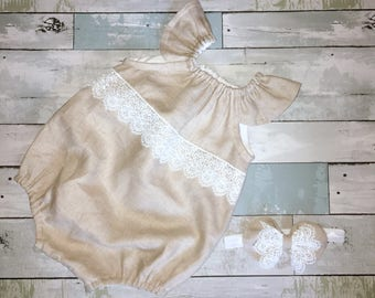 Linen Romper, Ruffled Neck Romper, Baby Girl Sunsuit, Boho, Lace Playsuit, Complete Baby /Toddler Set, Knot Bow Headband, Summer Playsuit