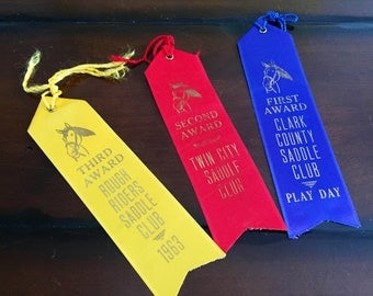 Vintage Horse Show Prize Ribbons Rough Riders Saddle Club Twin City Saddle Club Clark County Saddle Club
