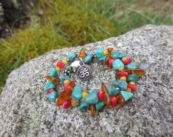 Coral, Turquoise and Amber Ohm Anklet