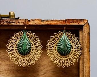 Lace Drop Earrings Round Filigree Patina Drop Statement Earrings Party Jewelry Floral Dangle Boho Chic Verdigris Drop Bohemian Jewelry -E335