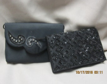 Two Black Vintage Clutch Bags with String Strapes