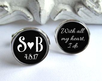 Groom Gift, Wedding Cufflinks, Personalized Groom Cufflinks
