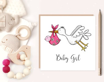 Baby Girl Stork Greeting Card - baby girl -  baby girl birth card - birth announcement - stork - new baby - ideal for new parents