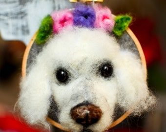 CUSTOM Needle Felted Wool Roving Christmas Ornament, Cat Dog Portrait, All Natural, 3D, Pet Parents, Gift for Newlyweds, Holiday Present