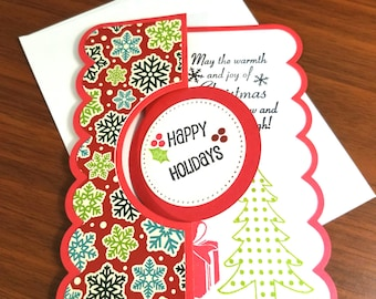 Handmade Christmas card,  holiday, seasonal, snowflake, A2 sized card,