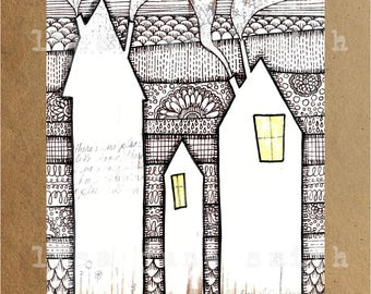 Original painting and ink drawing print - houses and trees - patterned art - 8x10 vertical art print